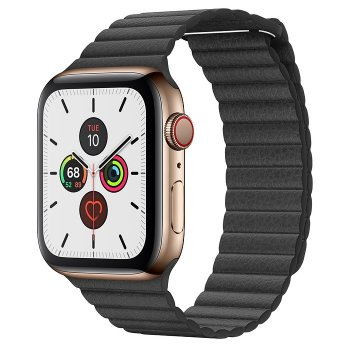 Apple Watch Series 5 rozsdamentesacél tok, bőrszíj